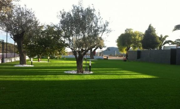 Jardín con árbol con césped artificial.